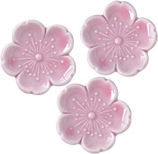 Minoru 陶器 筷架 新樱 粉色 4.5×4.5 厘米 3 个装