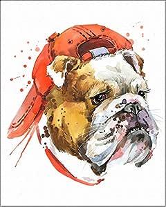 """7 点艺术。 狗狗。 水彩艺术印刷品,海报 20.32cm x 25.4cm 艺术厚水彩纸张儿童房、卧室、浴室。 墙壁艺术装饰动物男孩、女孩。 斗牛犬 8""""x10"""" 並行輸入品"""