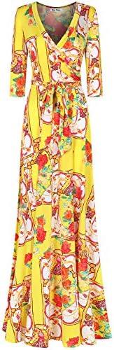 Bon Rosy 女式長袖 V 領花卉大西米亞風印花連衣裙