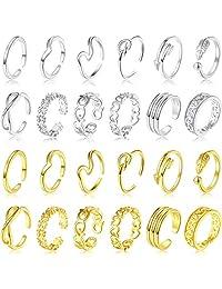 24 件可调节趾环露趾戒指套装女士各种花结简约箭头指关节尾环绑带凉鞋脚饰品夏威夷*饰品,12 金和 12 银色