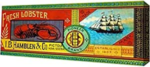 "PrintArt GW-POD-64-376024-40x16""Pioneer Brand Fresh Lobster"" 由 Retrolabel 画廊装裱艺术微喷油画艺术印刷品 20"" x 8"" GW-POD-64-376024-20x8"