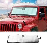 2018 Jeep 牧马人 JL 前格栅插入件和前灯盖饰边(9 件装). Windshield shade 银色 JeCarWshade
