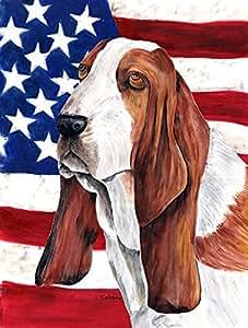 USA American Flag with Basset Hound Flag 多色 大