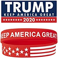 RHOMEIE 2 件/套 Trump Keep America Great 2020 硅膠腕帶 - 勵志勵志腕帶 - 成人中性禮物適合青少年男士女士男孩女孩拉力賽