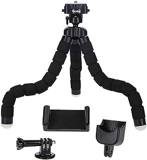 Rollei Monkey Pod Set - 迷你三脚架带柔性腿,包括球头、智能手机、DJI Osmo Pocket 和动作相机支架,黑色27厘米高