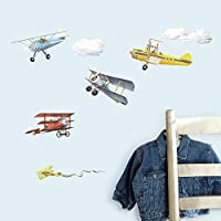 RoomMates RMK1197SCS Vintage Planes 系列墙面即剥即贴贴花,22 只入