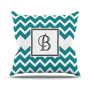 Kess InHouse KESS 原创交织字母 V 形图案蓝绿色字母 B 户外抱枕,66.04 x 66.04 厘米