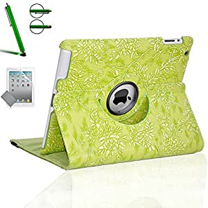 Zeox Apple iPad Air Case - 360 Degree Rotating Stand Case Cover with Auto Sleep / Wake Feature for iPad Air (iPad 5th Generation) 2013 Model Flower Green iPad Air (2013 Model)