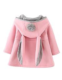 Urtrend 女婴幼儿秋冬外套夹克外套耳朵连帽卫衣  粉红色 4 Years