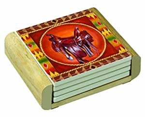 CounterArt Round Up Design Square Absorbent Coasters in Wooden Holder, Set of 4 Assorted
