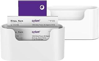 Aplum 名片夹,适用于办公桌   (2 件装)优质塑料名片夹   办公室展示名片夹   白色