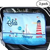汽车遮阳罩侧窗 - 2 件装婴儿宠物汽车遮阳罩自动吸盘窗帘遮阳保护车辆凉爽 蓝色