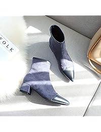 范纪思 短靴 芙号短靴女 秋冬季新款中跟靴子女尖头靴子 冬季女鞋