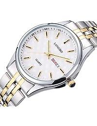 fanmis 男式奢华金色不锈钢模拟石英手表带日期日历防水腕表