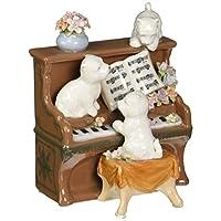 Cosmos 80096 精细瓷制狗狗和钢琴音乐小雕像,5-1/4 英寸