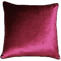 Riva Paoletti 奢华天鹅绒靠垫套 - 蔓越莓粉色 - 柔软天鹅绒面料 - 可反穿 - 隐藏式拉链 - 可机洗 - * 涤纶 - 55 x 55 厘米(22 英寸 x 22 英寸)