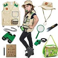 后院游猎背心和服装与户外儿童玩具或探险套装,适合儿童装扮、古生物学、动物园保护、露营、钓鱼、男孩和女孩儿童角色扮演的礼物