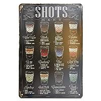 H&K Shots Menu 复古金属锡标志 海报 *吧 餐厅 墙饰 30.48 x 20.32 厘米