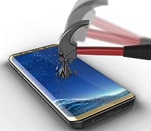 S8 Plus 钢化玻璃屏幕保护膜,PUNKSHIELD 通用保护套友好 9H [无气泡] [全屏] 弧形 0.33 毫米装甲保护三星 Galaxy S8 Plus 金色