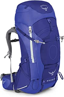 Osprey 女式 精灵 Ariel AG 65 蓝色 WM 双肩背包 耐用户外徒步穿越登山越野重装背包反重力背负系统带防雨罩轻量背包 三年质保终身维修(两种LOGO随机发)【户外系列】