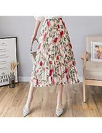Goralon 2019夏季新款中长款高腰半身裙 雪纺百褶半身裙碎花雪纺小清新印花半身裙