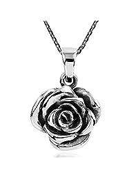 AeraVida 美丽花朵玫瑰 925 纯银吊坠项链