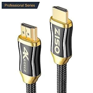 HDMI 线缆专业系列 4K 高速 HDMI 2.0 就绪 (4K 60Hz 4:4:4) HDR HDCP 2.2 - 以太网/音频回送通道,镀金连接器 超高清 (18Gbps) 24AWG (10 FT)