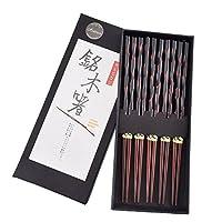 Antner 硬木筷子日本天然木筷子可重复使用手工雕刻的筷子,带盒子,5 对礼品套装
