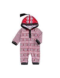 ViWorld 婴儿圣诞衣服新生儿几何流苏连帽衫长袖紧身衣红色条纹连帽运动衫