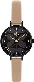 Orla Kiely 欧拉·凯利 中性成人模拟经典石英手表皮革表带 OK2250,黑色