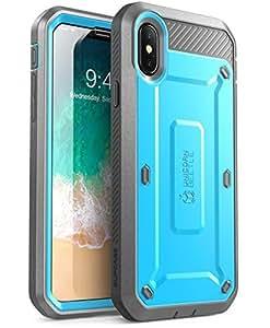 iPhone X 手机壳, SUPCASE 全包坚固皮套保护套,内置屏幕保护适用于 Apple iphone X (2017版) , UNICORN BEETLE PRO 系列–零售包装 蓝色