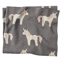 Mud Pie 柔软棉质育儿装饰独角兽毛毯,灰色