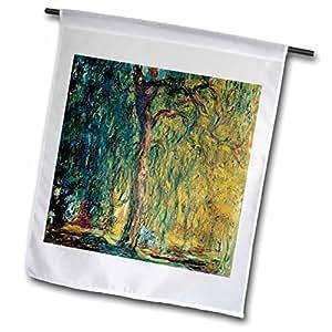 florene 著名艺术–PICTURE OF MONETS 画落泪 willow–旗帜 12 x 18 inch Garden Flag