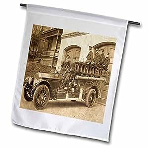 场景 from THE past Magic LANTERN slides–世纪早期卡车 Fire truck 和 firemen sepia–旗帜 12 x 18 inch Garden Flag