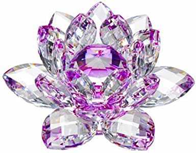 Amlong Crystal High Quality Hue Reflection Crystal Lotus Flower with Gift Box, 3-Inch, Purple