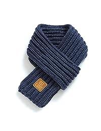 厚针织冬季保暖纯色儿童围巾 蓝色
