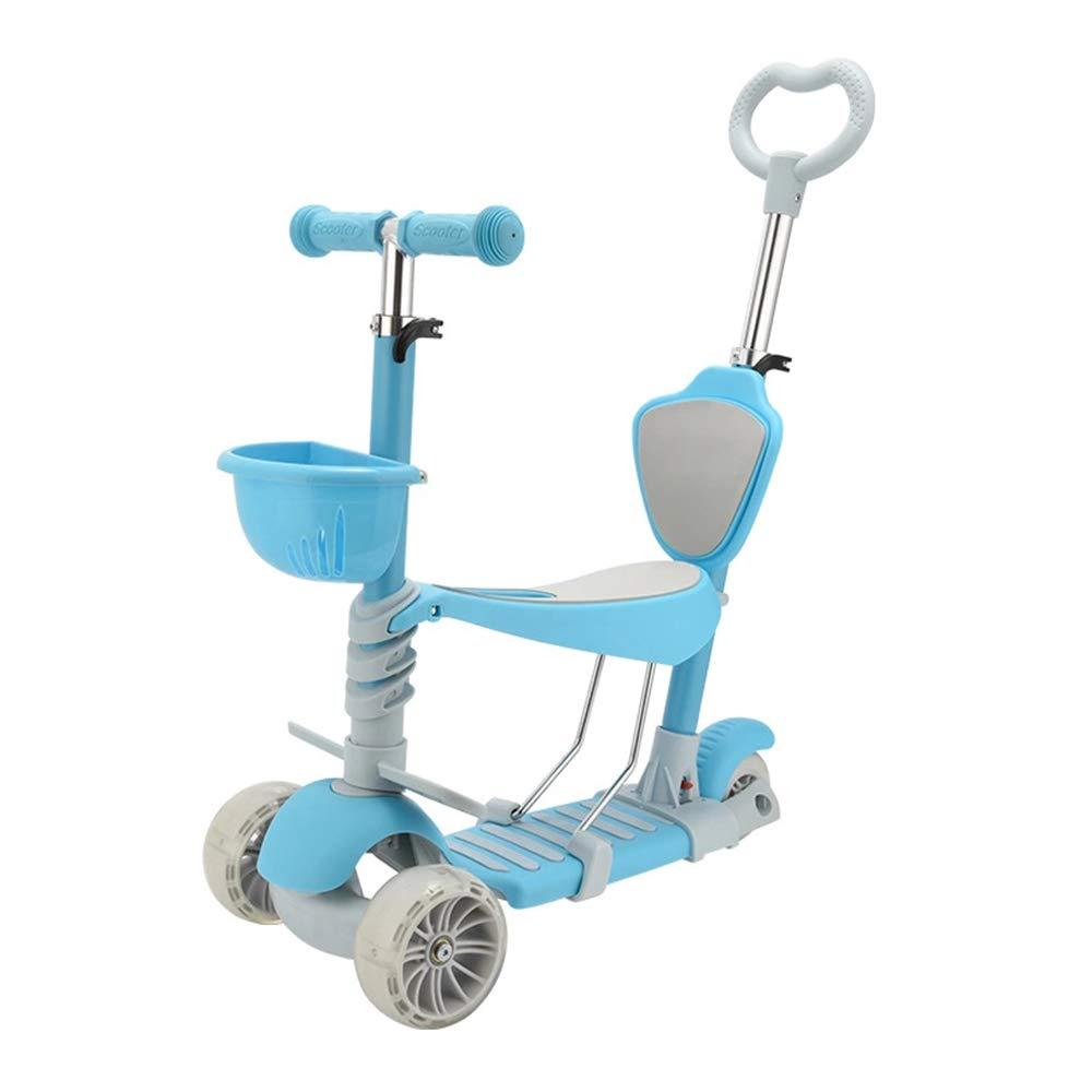 儿童滑板车可推三合一可坐可滑1-4岁溜溜车6岁男孩五合一滑滑车女 (五