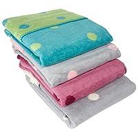 ByBoom® - 初生婴儿毯/婴儿毯/毯子 100% 棉绒 75x100 厘米带点;欧盟制造 Blau/Ecru