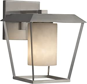Justice Design Group Lighting CLD-7551W-10-MBLK-LED1-700 云 Patina LED 小型 1 盏灯户外壁灯表面圆筒带平框罩,17.78cm 宽,哑光黑色