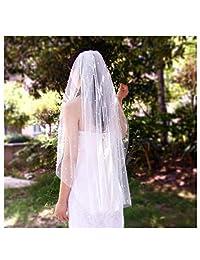 杜鹃花婚礼新娘头纱带梳子 1 层切割边缘指尖和大教堂长度珍珠 (V05)