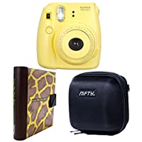 Nifty fk-m8yl84ol Fuji instax mini 8相机工具箱带相机保护套(黑色 & copper 长颈鹿专辑 / 黄色)