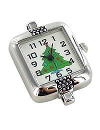 Linpeng 圣诞树手表表面,2.54 厘米 Silver/GREEN 1 英寸 2039-T