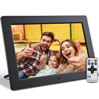 JEEMAK F10 数码相框 10 英寸数码相框带音乐,视频高清 1280x800 16:10 IPS 屏幕,支持 32GB USB 驱动器/SD 卡,遥控器