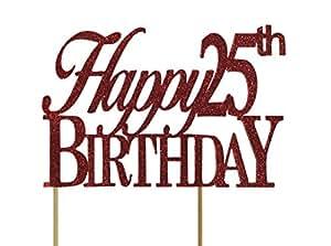 All About Details Happy 25 生日蛋糕装饰,1 件,25 岁生日,派对装饰,闪光装饰 红色 9 5/8 x 6 3/8 x 1 5/8 inches CATH25B