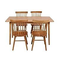 百伽 现代简约全实木餐桌椅组合进口白橡木餐厅家用一桌四椅 1.4米直角腿餐桌+4把温莎椅【亚马逊自营,供应商配送】