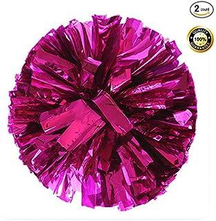 PUZINE 2 件装啦啦队金属箔和塑料环球啦啦队啦啦啦队球 粉红色