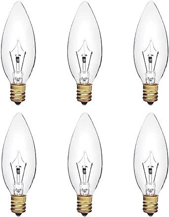 B10 白炽透明枝形吊灯灯泡,鱼雷头,E12 烛台底座,可调光,130V(6 件装) 40w Clear 每包6条