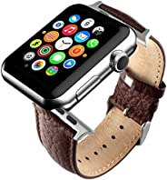 替换棕色真皮表带,适用于 Apple Watch iWatch 42mm with Adaper