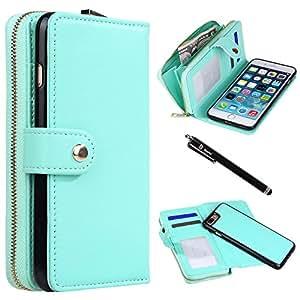 iPhone 7 Plus 手机壳,Style4U 优质 PU 皮革翻盖钱包式包袋手机套,带身份证和信用卡/现金夹插槽口袋适用于 Apple iPhone 7 Plus 1 Style4U 手写笔 薄荷绿