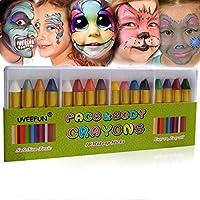 UVEEFUN 面部颜料蜡笔 16 色面部和身体涂抹棒身体纹身蜡笔 - 万圣节彩妆